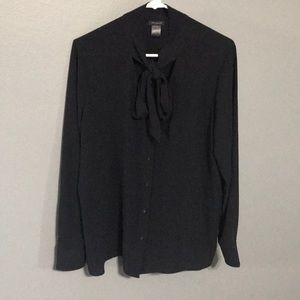 Ann Taylor Factory Navy Tie Collar Blouse sz L